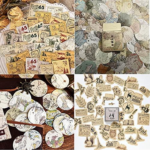 Adesivi per Scrapbooking(180 Pz), 4 scatole Vintage Adesivi in diversi stili per Album Calendari Biglietti d'auguri Regali Fai da Te Decorazione, Adesivi per Valigie, Timbri, etichette, mappe