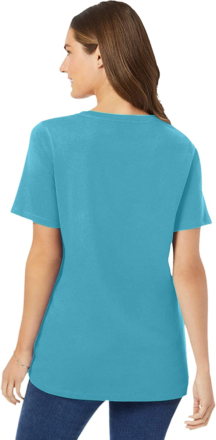 Woman Within Women's Plus Size Perfect Short-Sleeve V-Neck Tee Shirt
