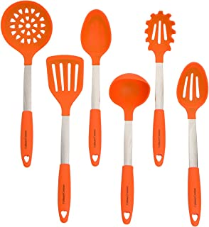 Orange Kitchen Utensil Set - Stainless Steel & Silicone Heat Resistant Professional Cooking Tools - Spatula, Mixing & Slot...