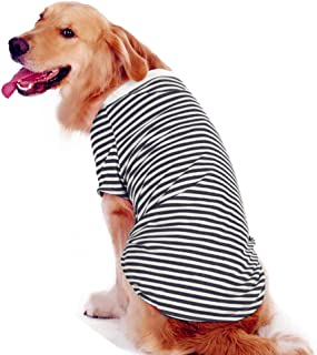 Petroom Large Dog Striped T Shirt,Dog Cute Shirts, Oversized Breathable Cotton Vest for Medium to Large Dogs