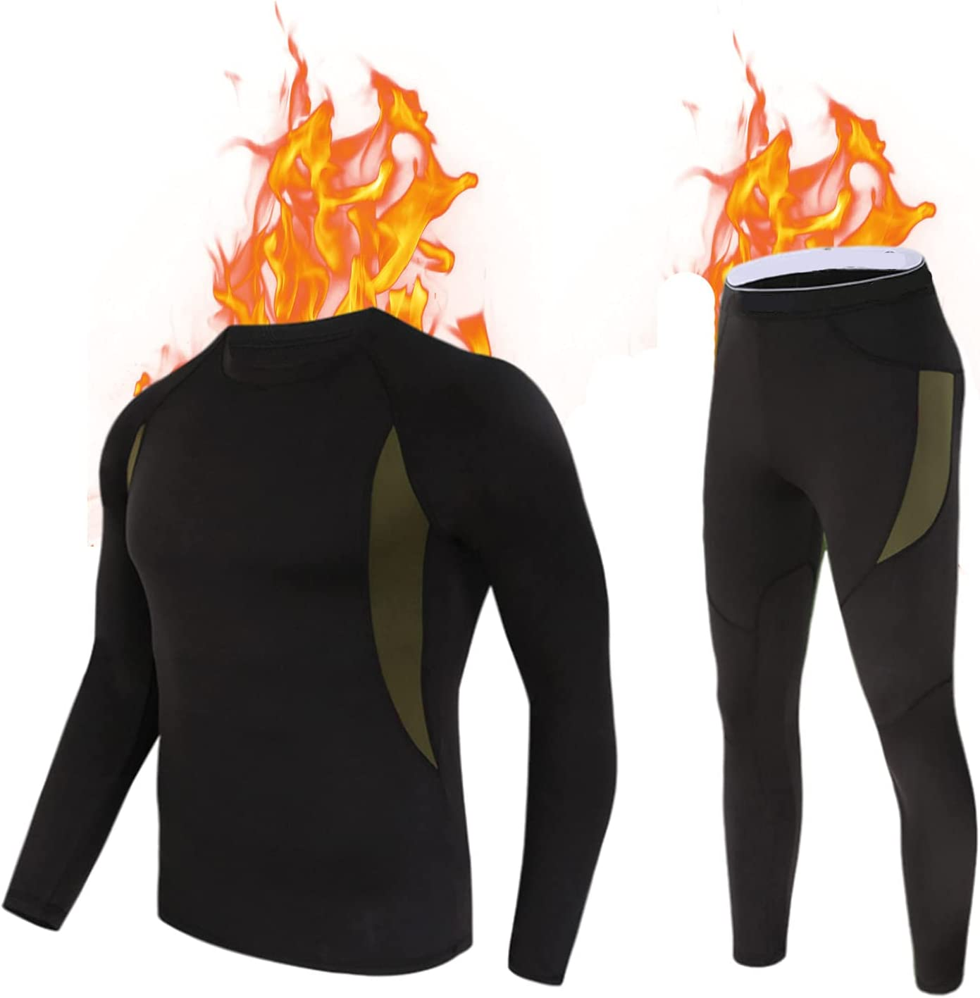 CCCYT Underwear Thermal for Men, Winter Base Layer Set Tops & Long Johns Compression Wintergear for Heat Retention