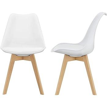 BJORN Lot de 2 chaises de salle a manger Simili blanc