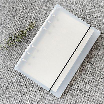 A6 6穴カバー ラウンドリングビューバインダー ファイルフォルダー ルーズリーフシートプロテクター/ノートブック リフィル/DIYスクラップブック/バインダーカバープロテクター, A6 ノートブックカバー(紙を含まず)白い, 1 パッケージ