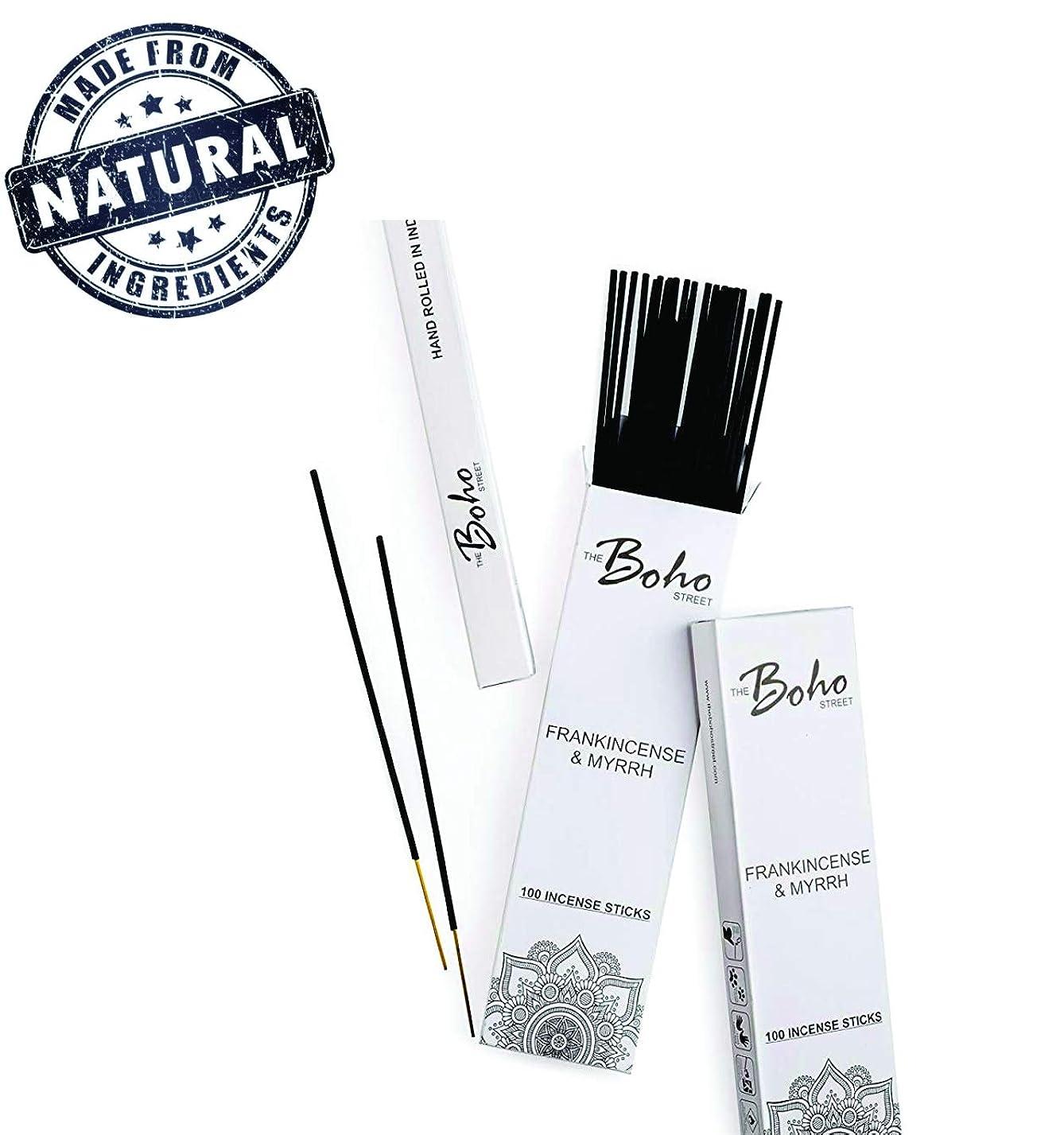 落ち込んでいるアルネ従順な(100) - The Boho Street Premium Incense Sticks - Frankincense and Myrrh 100% Hand Rolled Hand Dipped in India 100 Sticks pack (100)