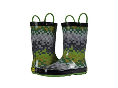 Western Chief Kids Digi Stripe Rain Boots (Toddler/Little Kid) (Green) Boys Shoes