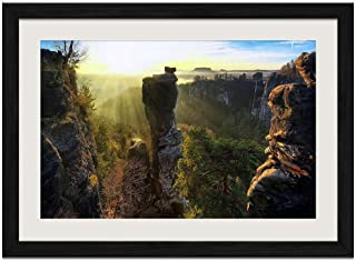 Rock Forest - Art Print Wall Black Wood Grain Framed Picture(20x14inches)