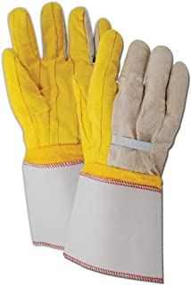 Magid Glove & Safety 64JTNEG Magid MultiMaster 18 oz. Double Palm Gloves with Elastic Back, 8, Yellow, Men`s Jumbo (Fits XL) (Pack of 12)