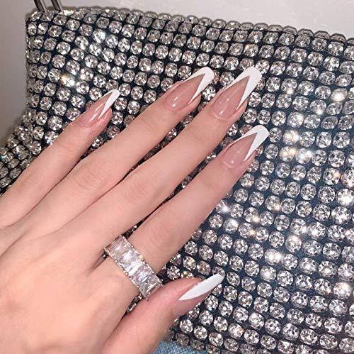 JAWSEU 24 Stück Französisch Ballerina Sarg Künstliche Nägel Lange falsche Nägel Rosa Falsche Fingernägel Acryl Drücken Sie auf Nagelspitzen für Frauen und Mädchen