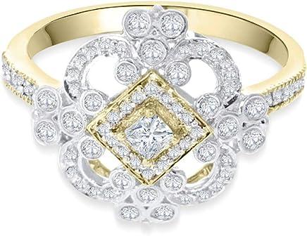 14K Gold Diamond Ring for Women 0.49ctw Victorian Antique Style Princess Cut Center