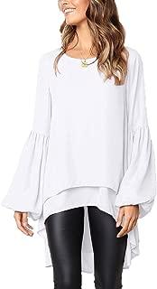 Women's Lantern Long Sleeve Tops High-Low Hem Tunic Round Neck Asymmetrical Irregular Hem Casual Blouse Shirt Dress