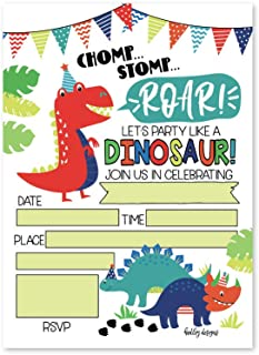 25 Dinosaur Kids Birthday or Slumber Party Invitations, Jurassic Baby Shower Invite, Boy Girl Little Dino Dig Themed, Children or Toddler Bday T Rex Theme Supplies, Printed or Fill in The Blank Cards