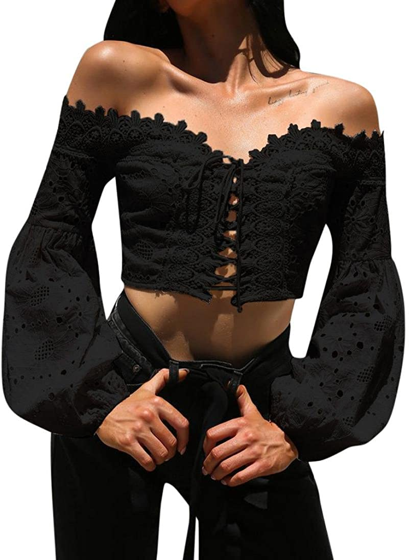 Women Sexy Off Shoulder Super special price Hollow Lace Blouse Long C Beach Mall Sleeve Bandage
