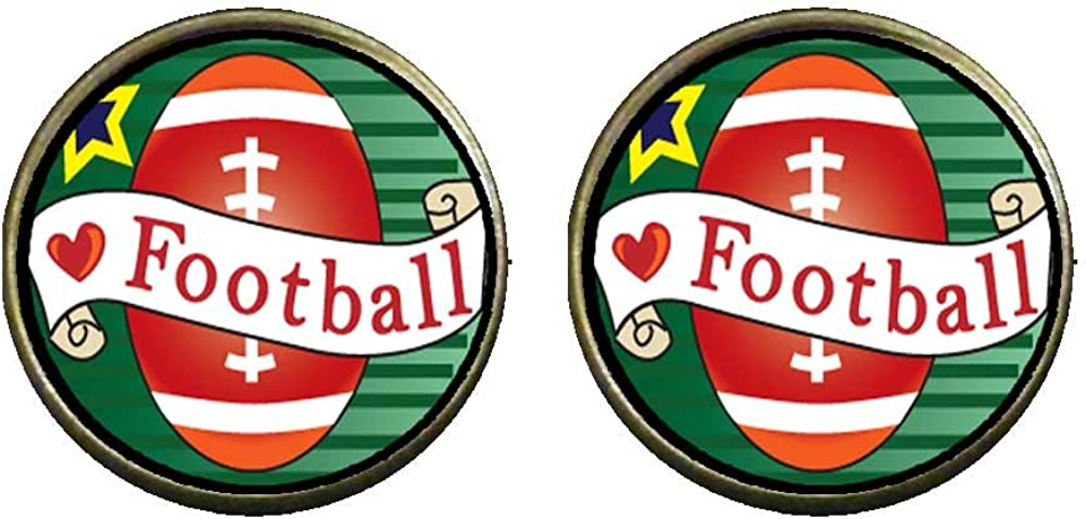 GiftJewelryShop Bronze Retro Style Heart Football Photo Clip On Earrings 14mm Diameter