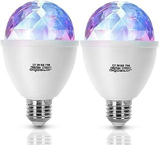 Aigostar Dsco - Bombilla LED giratoria 360º, E27, 3W, cambio de color RGB, luz estroboscópica, efecto bola de discoteca, perfecta para fiestas. No regulable, ángulo de apertura 180º. 2 PCS