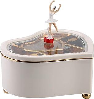 Omabeta Carillon da Ballo a Forma di Cuore Carillon Lago dei cigni Gioielli Carillon Rotante Set di Gioielli per Bambine R...