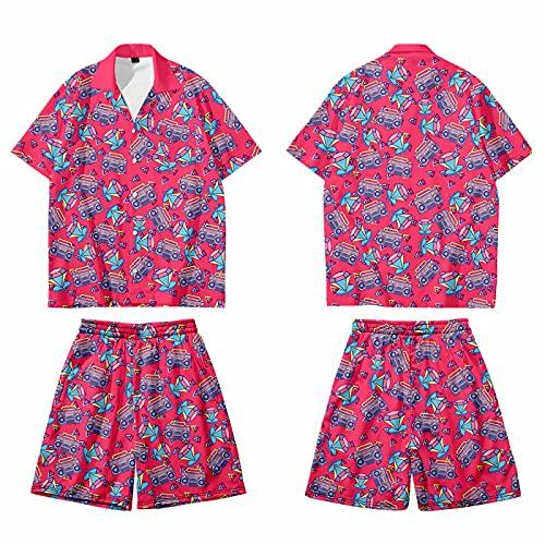 CHUIKUAJ Cárdigan Kimono Japonés para Hombre Camisa de Manga Corta con Estampado Floral Pop Pantalones de Playa Camisetas Sueltas Unisex Chaqueta Informal,Rosered-6XL