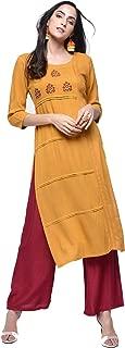 Zoeyams Womens Mustard Rayon Computer Embroidery Long Straight Kurta With Rayon Palazzo