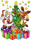alles-meine.de GmbH 4 versch. Stück: XL Fensterbilder -  Weihnachten  - Weihnachtsmann / Sternsinger / Weihnachtsbaum / Schneemann - statisch haftend - selbstklebend + wiederve.. -