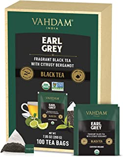 VAHDAM, Bio-Earl Grey Teeblätter 100 Teebeutel ZITRUSIG, KÖSTLICH&AROMATISCH | SchwarzTee gemischt mit 100% natürlichem Bergamotte-Öl, natürliche Quelle von Antioxidantien | Eis/heißen Tee