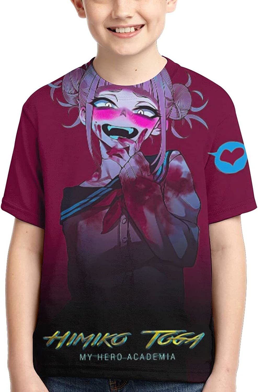 My H-Ero Academia Himiko Toga Shirts Crew Neck Boy Anime T-Shirt Casual Tee Tops