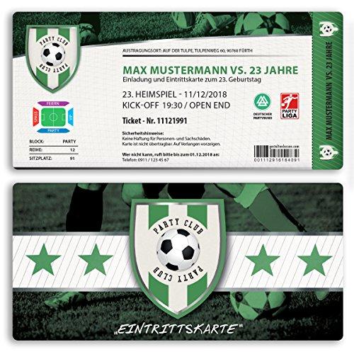 (30 x) Einladungskarten Geburtstag Fussball Kindergeburtstag Ticket Einladungen Grün