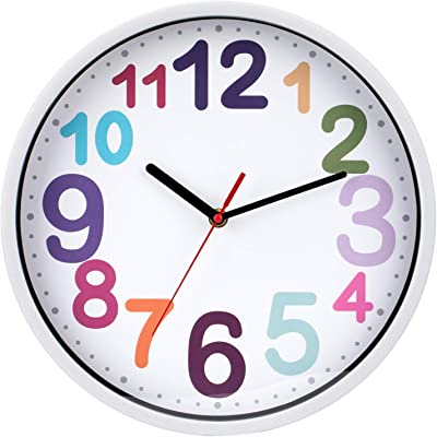 Wall Clock Colorfull Wall Clock Quiet Non Ticking Wall Clock Battery Operated for Teens,Girls,Boys,Bedroom,Living Room,Classroom 30CM