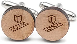 Wooden Accessories Company Turing Machine Cufflinks, Wood Cufflinks Hand Made in The USA