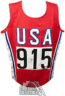 Carl Lewis Autographed Custom USA Track and Field Jersey - COA - JSA Certified - Autographed Olympic Jerseys