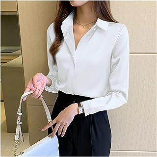 Silk Shirts Women Long Sleeve Shirts Blouse Office Lady Satin Silk Blouse Tops Woman Basic Shirt Top (Color : White, Size...
