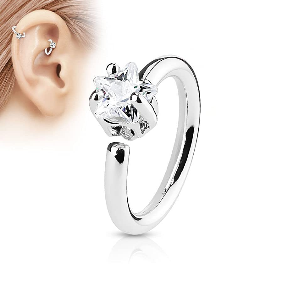 Greendou Elegant Fashion Jewelry Star CZ Crystal Nose Ring Stud Hoop-Sparkly Crystal Nose Ring (Silver)