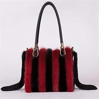 Shoulder Bag Handmade Leather Handbag New Winter All-Match Portable Fashion Shoulder Bag Handbag Clutch (Color : The Wine is red+Black)