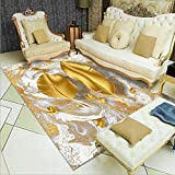 Modern Area Rug Fashion Exquisite Bedroom Carpet Soft Non-Slip Living Room Carpet Dazzling Golden Feather Design Easy to Clean 80x120CM