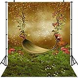 JIANGQIAO Fondo para fotos con diseño de herbáceas y bosques de hadas para niños recién nacidos, setas y elfos (color: SK0173, tamaño: vinilo fino, 180 x 270 cm)