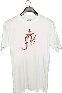 UDNAG Unisex Round Neck Graphic 'Ganpati' Polyester T-Shirt (White, Large)