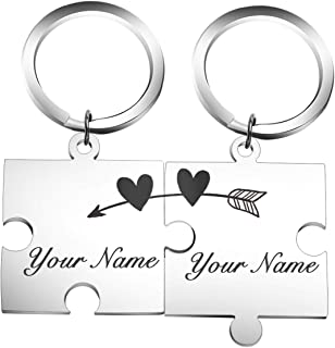 Fanery Sue Personalized Matching Puzzles Name Keychain Custom Engraved Key Chain ID Key Tag for Couples Best Friends(Set of 2 Cupid`s Arrow)