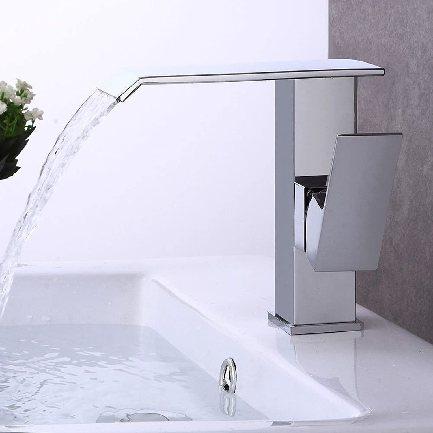 NewBorn Faucet Kitchen Bathroom Sink Mixer Tap Antique Brushed Brass Single Handle One Hole Ceramic Valve Spout Waterfall Basin Floor