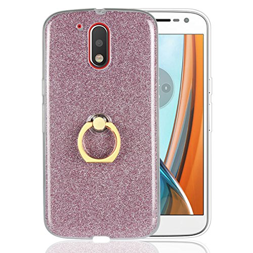 Funluna Motorola Moto G4 Case, Bling Glitter Sparkle Cover Shockproof Soft TPU Silicone Gel Back Case Protective Shell Skin with Ring Grip Stand for Lenovo Motorola Moto G4