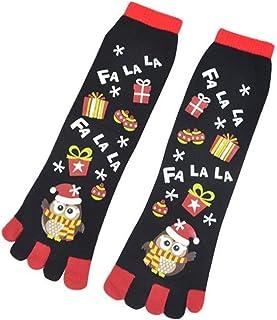WanXingY, 1 par de Cinco Dedos Calcetines de Invierno Calcetines de Navidad para niños Unisex Lindo Dibujos Animados Muñeco de Nieve Owl Snowflake Deer Hombres Calcetines de los pies de los niños (Color : 01)