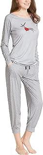 Pajamas Women, Cute Holiday Woman Pajama Set - Long Sleeve Raglan Shirt Capri Joggers