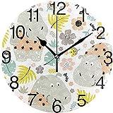 sam-shop Fantástico Reloj de Pared Redondo con diseño de hipopótamo, Pintura al óleo silenciosa y sin tictac Decorativa para el Arte del Reloj Escolar de la Oficina en el hogar