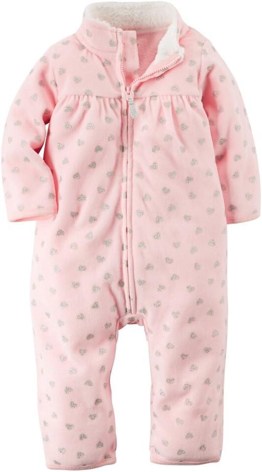 ملابس الأطفال الرضع من Carters بدلة للفتيات بسحاب لأعلى مطبوع عليها قلوب وردية 9M