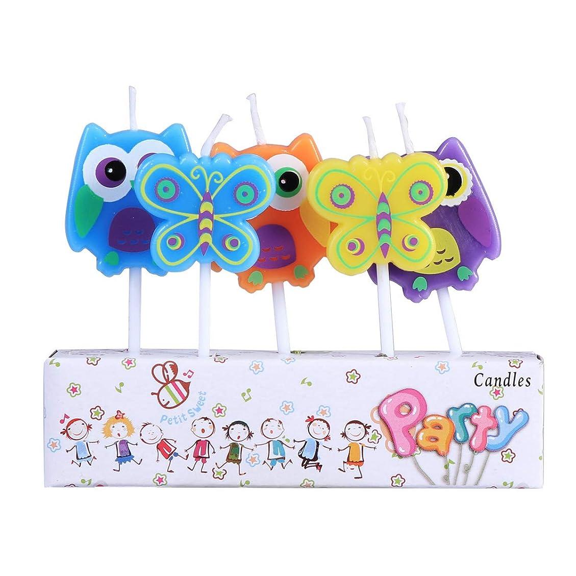 BESTOYARD 子供の誕生日の装飾のための5本の動物の誕生日ケーキのろうそく(フクロウ蝶形)