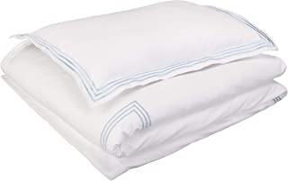 AmazonBasics Embroidered Hotel Stitch Duvet Cover Set - Premium, Soft, Easy-Wash Microfiber - Twin/Twin XL, White with Dusty Blue Embroidery