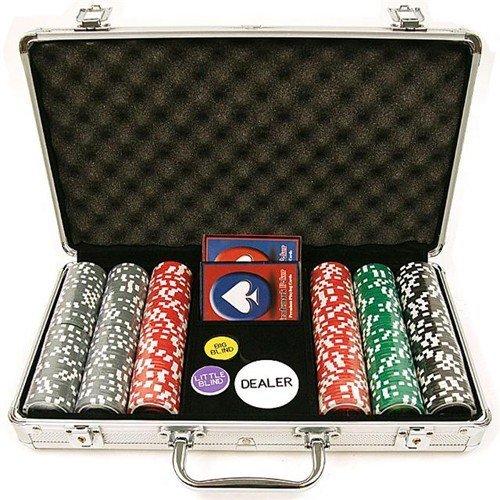 Carte Oob-Poker 2Mazzi+300 Fiches+5Dadi Valigetta Alluminio