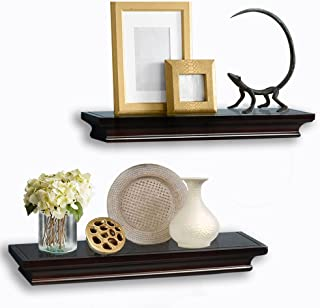 AHDECOR Floating Shelves Espresso, Ledge Wall Shelf for Small Display Items with 4