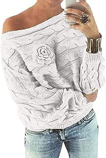 Hemlock Women Knit Sweater Coat Off Shoulder Loose Soft Knitted Pullover Sweatshirt Outerwear Top