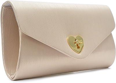 Vain Secrets Damen Abendtasche Clutch Brauttasche mit Herz