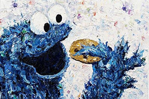 Kay Schleusner Lekker koekjes - 60 x 40 cm/kunstdruk/druk op canvas/Pop Art kruimels/kinderkamer/spieraam bespannen/XXL/Monster