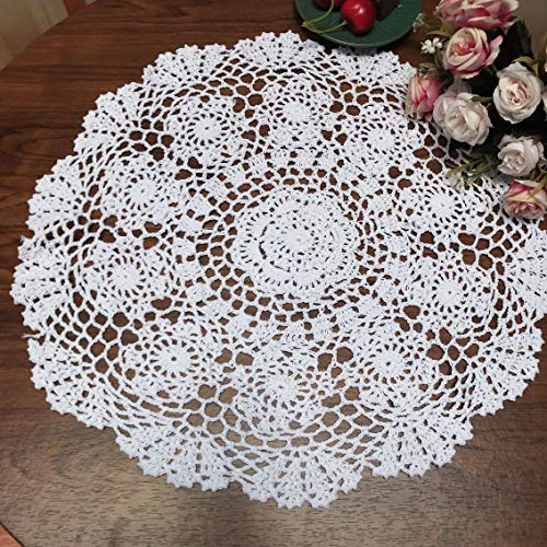 Damanni White Cotton Handmade Crochet Lace Tablecloth Doilies Table Overlay,Round,16 Inch,2PCS