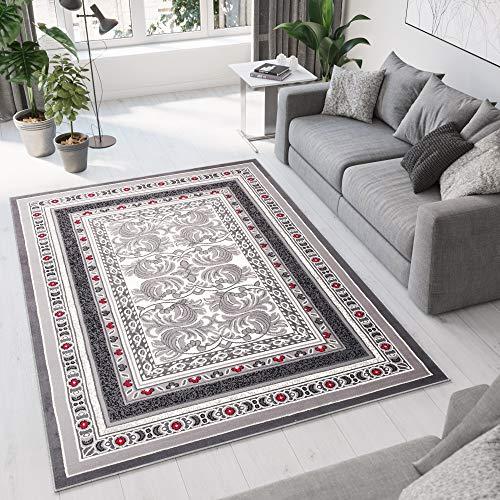 Tapiso Designer Teppich Wohnzimmer Teppich SCHÖN Muster IN ROT GRAU Hellgrau (300x400 cm)